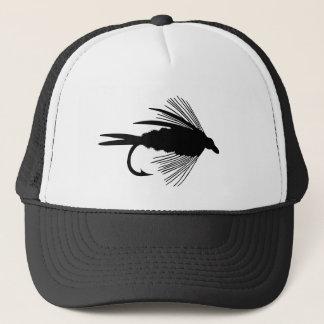 Black fly fishing lure trucker hat