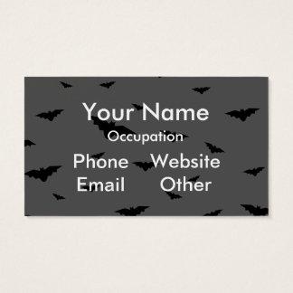 Black Flying Bats & Grey Background- Halloween Business Card