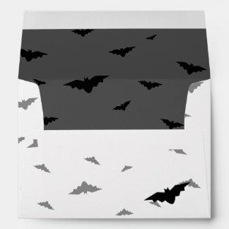 Black Flying Bats & Grey Background - Halloween Envelope