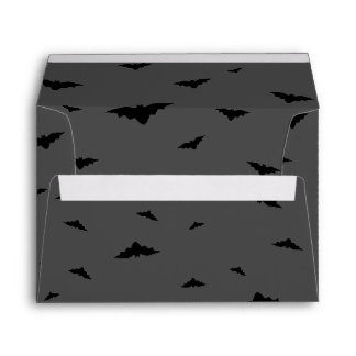 Black Flying Bats & Grey Background - Halloween Envelopes