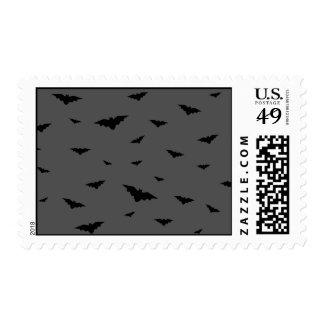 Black Flying Bats & Grey Background- Halloween Postage