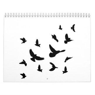 Black flying birds calendar