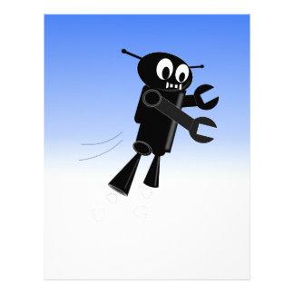 Black Flying Robot Blue Sky Background Letterhead