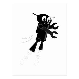 Black Flying Robot Postcard