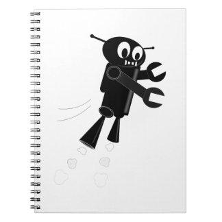 Black Flying Robot Spiral Notebook