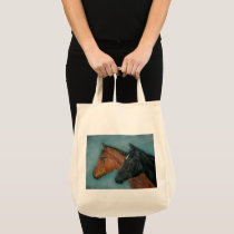 black foal chestnut foal two baby horses tote bag