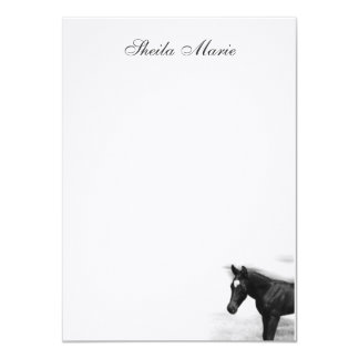 "Black Foal Flat Card 4.5"" X 6.25"" Invitation Card"