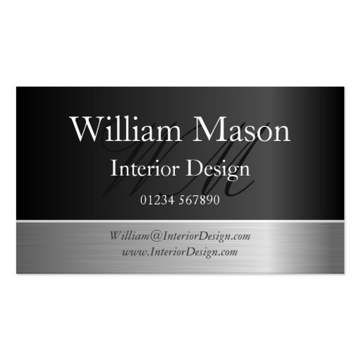 Black Foil & Steel Effect, Monogram Business Card Business Card Template