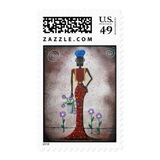 BLACK Folk Art By Lori Everett postage stamp