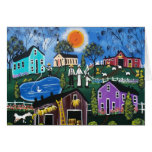BLACK Folk Art First Day Of New Hope By Lori Stationery Note Card