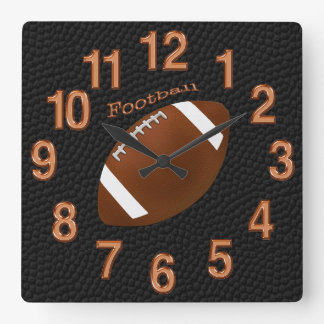 Black Football Clock with Football, Copper Numbers