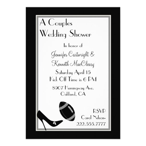 Black Football Couples Wedding Shower Invitation