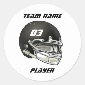 Black Football Helmet Classic Round Sticker
