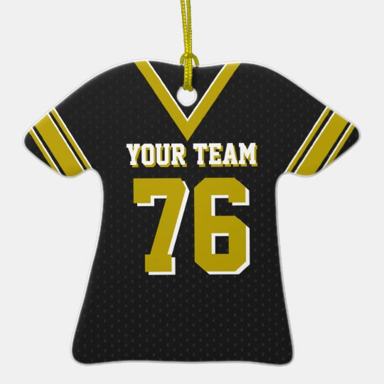 Black Football Jersey with Photo Ceramic Ornament