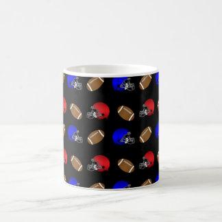 Black footballs helmets pattern coffee mug