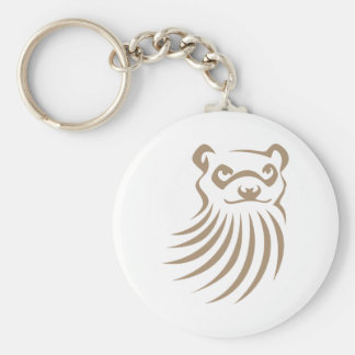 Black Footed Ferret in Swish Drawing Style Basic Round Button Keychain