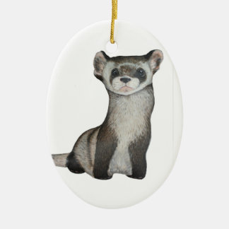 Black footed ferret christmas ornament