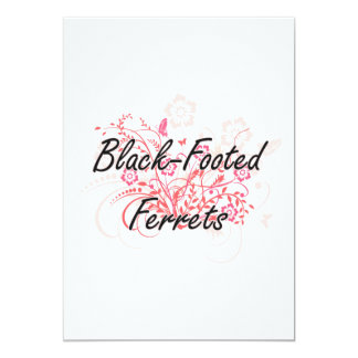Black-Footed Ferrets with flowers background 5x7 Paper Invitation Card
