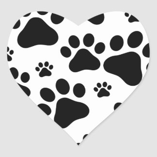 Black Footprint dogs Heart Sticker