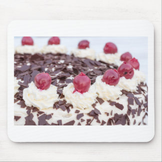 Black Forest cake in detail with white background Mouse Pad
