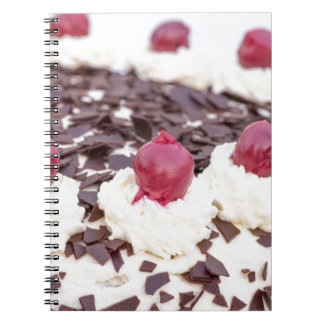 Black Forest cake in detail with white background Notebook