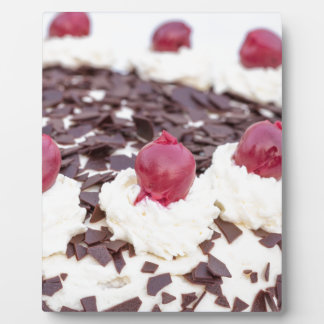 Black Forest cake in detail with white background Plaque