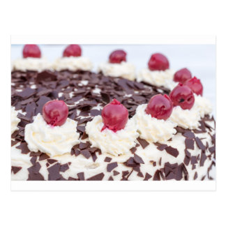 Black Forest cake in detail with white background Postcard