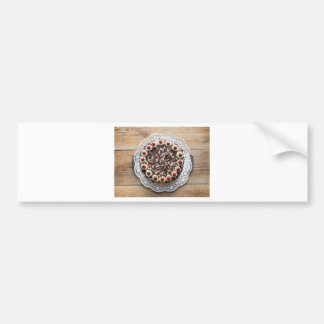 Black Forest cake on rustic wood Bumper Sticker