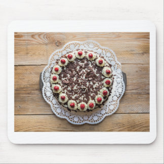Black Forest cake on rustic wood Mouse Pad