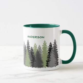 Black Forest Pine Tree Woods Custom Text Mug