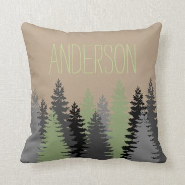 Christmas Themed Black Forest Woods Pine Tree Custom Name Throw Pillow