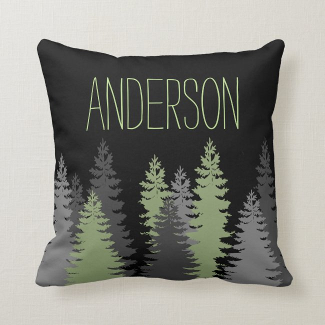 Black Forest Woods Pine Tree Custom Name Throw Pillow