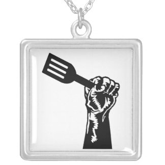 black fork silver plated necklace
