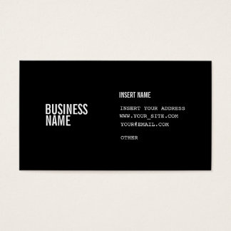Black Format With Columns Condensed Fonts Business Card