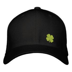 7e1cc4985fd Black Four Leaf Clover St. Patrick - CUSTOMIZABLE Embroidered Baseball Hat