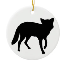 Black Fox Ceramic Ornament