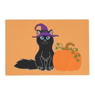 Black Fox with Halloween Pumpkin Laminated Place Mat