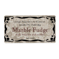 Black Frame and Marble Brown Label Template