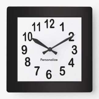 Black Frame and Numbers | Choose Background Color Square Wall Clock