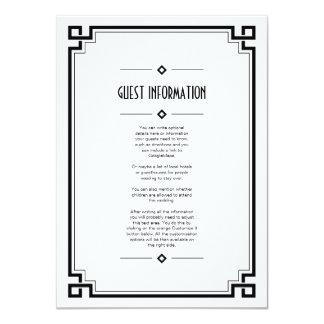 Black Frame Art Deco White Wedding Insert Card Invitations