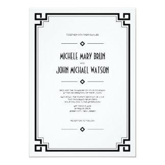 Black Frame Art Deco White Wedding Invitation