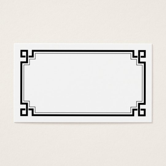 Black Frame Art Deco White Wedding Place Names Business Card