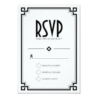 Black Frame Art Deco White Wedding RSVP Card