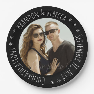 Black Frame Custom Circle Text Photo Wedding Paper Plate