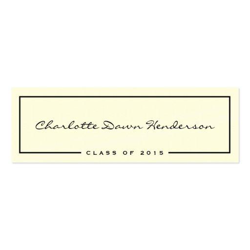 black frame ecru graduation announcement name card zazzle. Black Bedroom Furniture Sets. Home Design Ideas