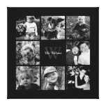 Black Frame Monogrammed Photo Collage Gallery Wrapped Canvas