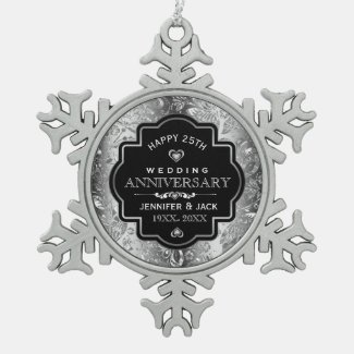 Black Frame & Silver Damask 25th Anniversary Snowflake Pewter Christmas Ornament