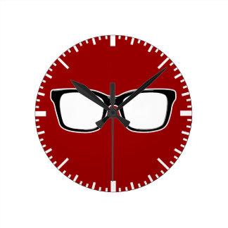 Black framed glasses wall clock