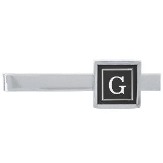 Black Framed Monogram Silver Finish Tie Clip