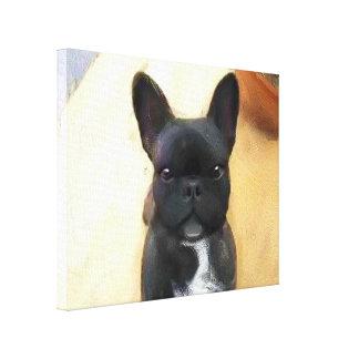 Black French Bulldog art canvas print